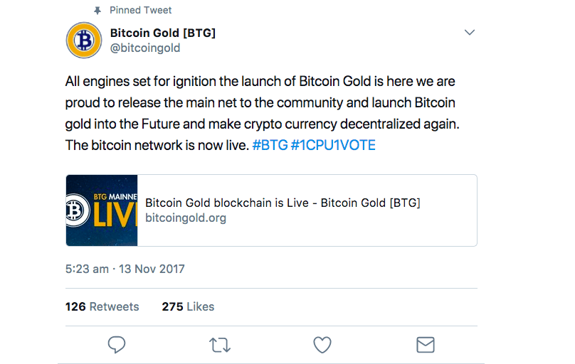 Bitcoin Gold akhirnya dilancarkan